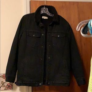 Madewell Black Denim Jacket with Sherpa Lining